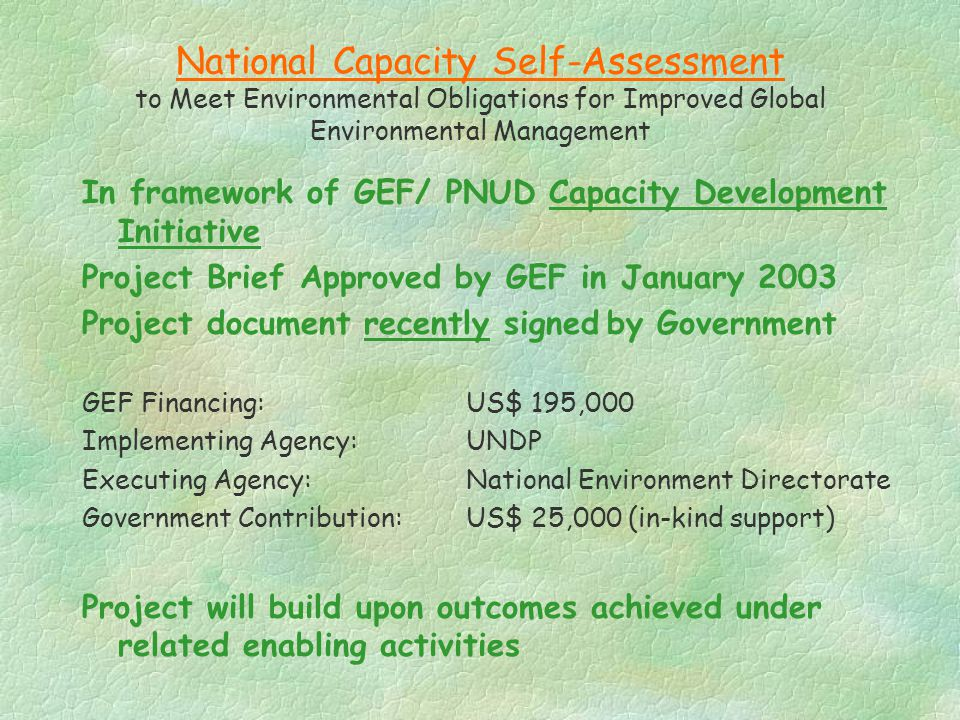 National Capacity Self-Assessment to Meet Environmental Obligations for Improved Global Environmental Management In framework of GEF/ PNUD Capacity De
