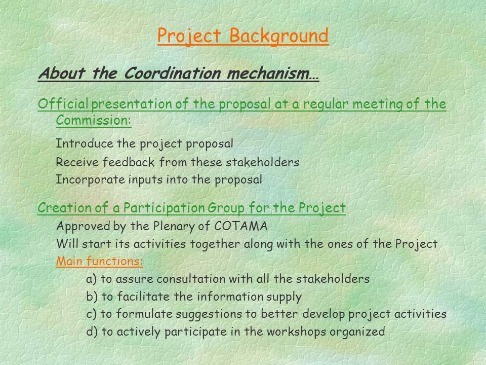 Project Background About the Coordination mechanism… Official presentation of the proposal at a regular meeting of the Commission: Introduce the project proposal Receive feedback from these stakeholders Incorporate inputs into the proposal Creation of a Participation Group for the Project Approved by the Plenary of COTAMA Will start its activities together along with the ones of the Project Main functions: a) to assure consultation with all the stakeholders b) to facilitate the information supply c) to formulate suggestions to better develop project activities d) to actively participate in the workshops organized