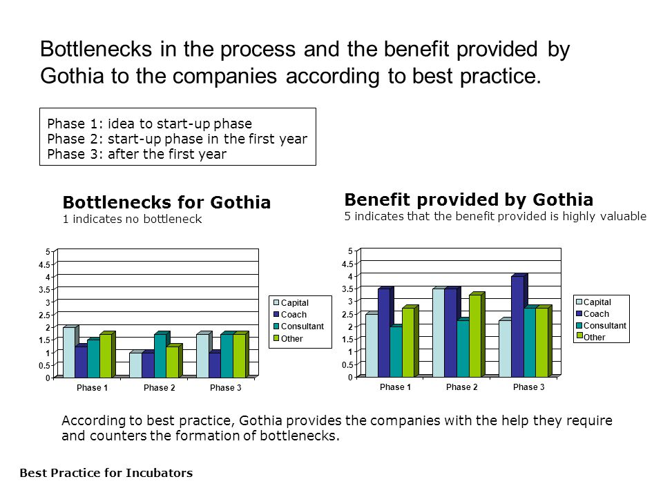 Best Practice för inkubatorer Bottlenecks in the process and the benefit provided by Gothia to the companies according to best practice.