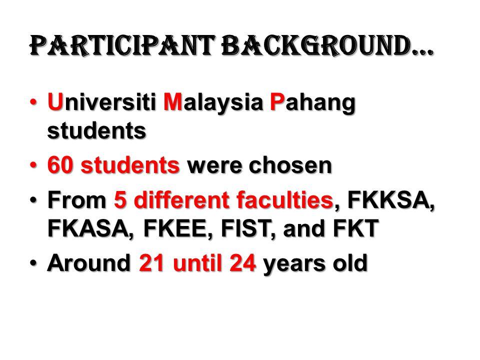 Participant background… Universiti Malaysia Pahang studentsUniversiti Malaysia Pahang students 60 students were chosen60 students were chosen From 5 different faculties, FKKSA, FKASA, FKEE, FIST, and FKTFrom 5 different faculties, FKKSA, FKASA, FKEE, FIST, and FKT Around 21 until 24 years oldAround 21 until 24 years old