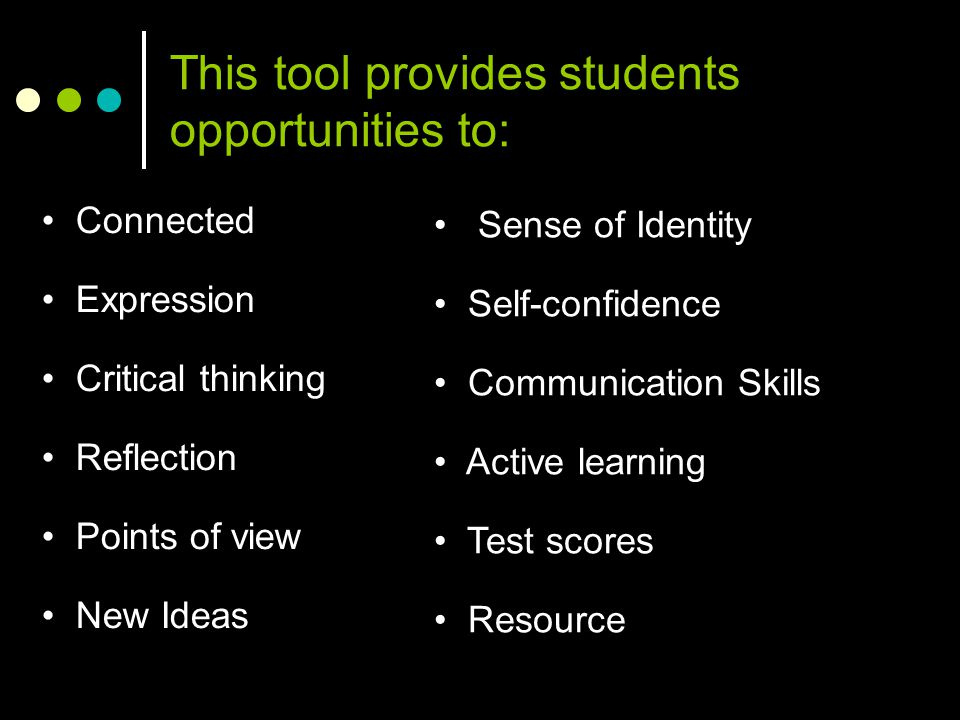 This tool provides students opportunities to: Connected Expression Critical thinking Reflection Points of view New Ideas Sense of Identity Self-confid