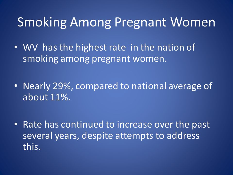 Smoking Among Pregnant Women WV has the highest rate in the nation of smoking among pregnant women.