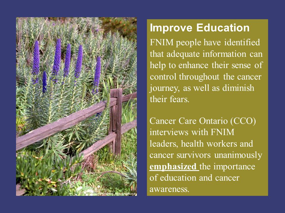 Improve Education FNIM people have identified that adequate information can help to enhance their sense of control throughout the cancer journey, as w