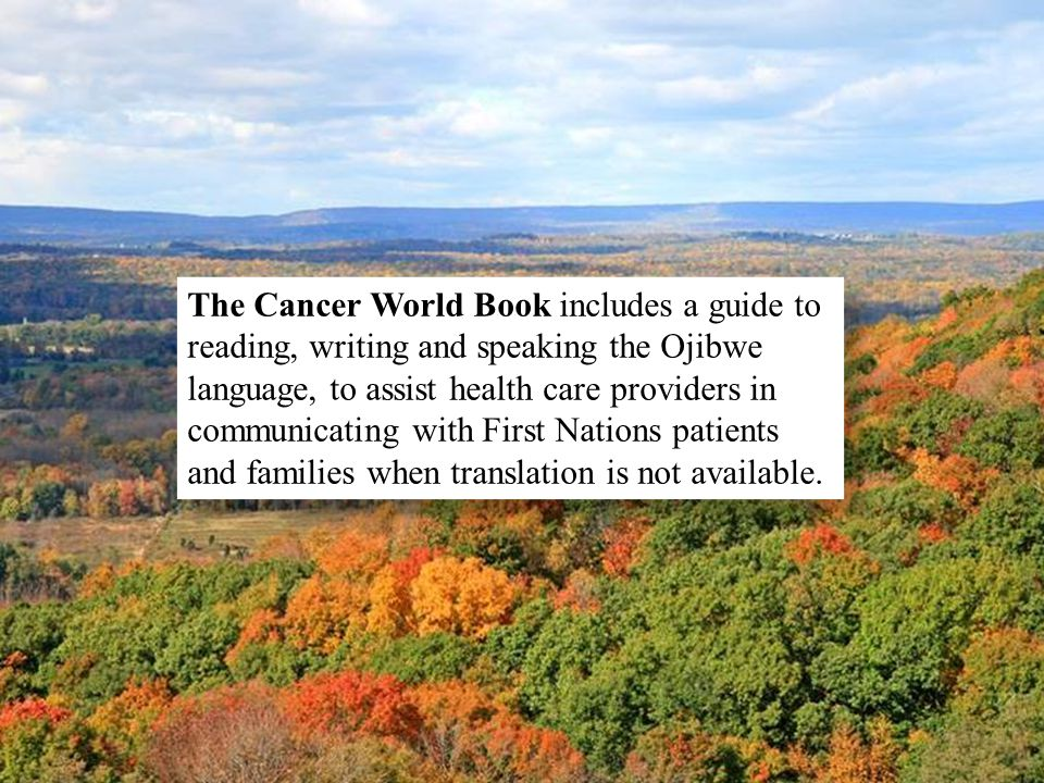 The Cancer World Book includes a guide to reading, writing and speaking the Ojibwe language, to assist health care providers in communicating with Fir