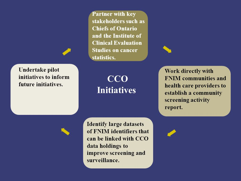 CCO Initiatives Work directly with FNIM communities and health care providers to establish a community screening activity report. Identify large datas