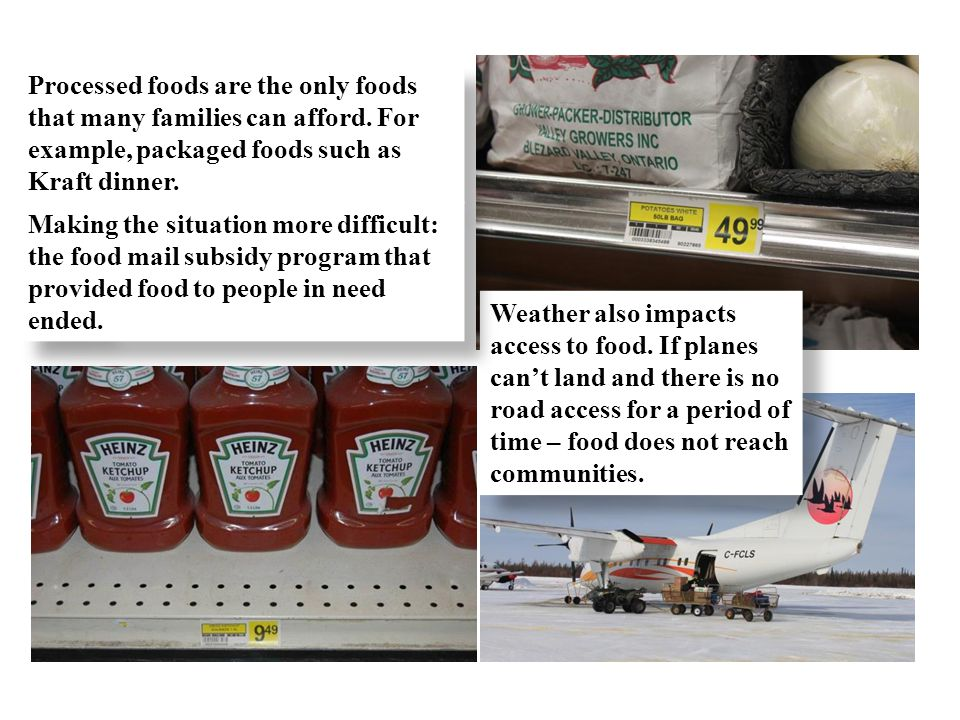 Processed foods are the only foods that many families can afford. For example, packaged foods such as Kraft dinner. Weather also impacts access to foo