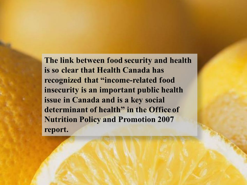 """The link between food security and health is so clear that Health Canada has recognized that """"income-related food insecurity is an important public he"""