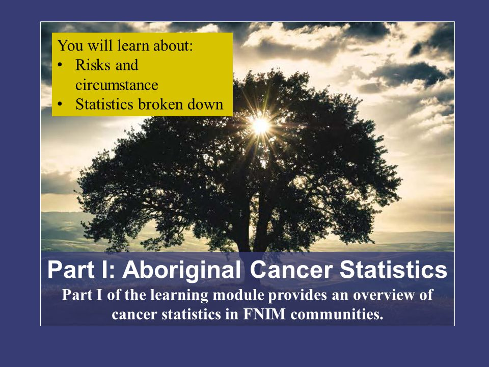 First Nations Male and Female Cancer Statistics First Nations Female Cancer TypeIncident Rate Breast.54 Lung.92 Colorectal.57 Kidney1.28 Cervix1.73 Oral.98 Stomach.66 First Nations Males Cancer typeIncident Rate Prostate.57 Lung.68 Colorectal.58 Kidney1.18 Oral.65 Stomach.66 Sources: Assembly of First Nations, 2009 from Marret, 2003 and Wiggins, 2008