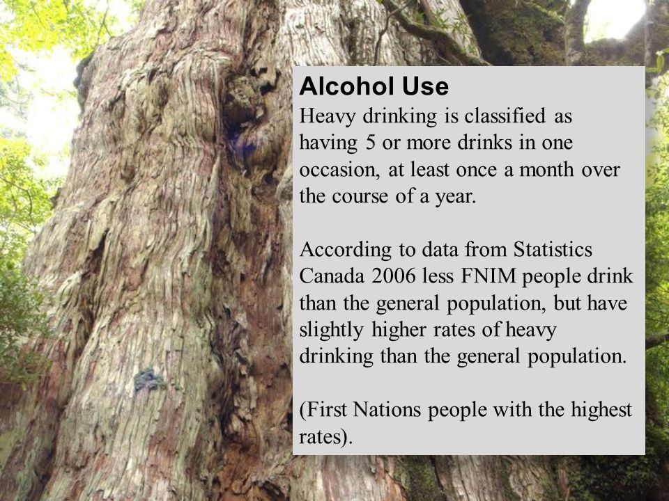 Alcohol Use Heavy drinking is classified as having 5 or more drinks in one occasion, at least once a month over the course of a year. According to dat