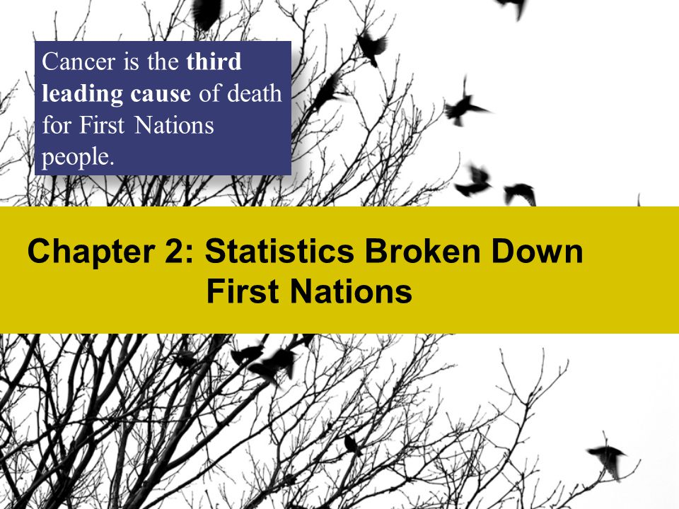 Chapter 2: Statistics Broken Down First Nations Cancer is the third leading cause of death for First Nations people.