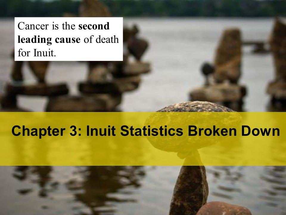 Chapter 3: Inuit Statistics Broken Down Cancer is the second leading cause of death for Inuit.