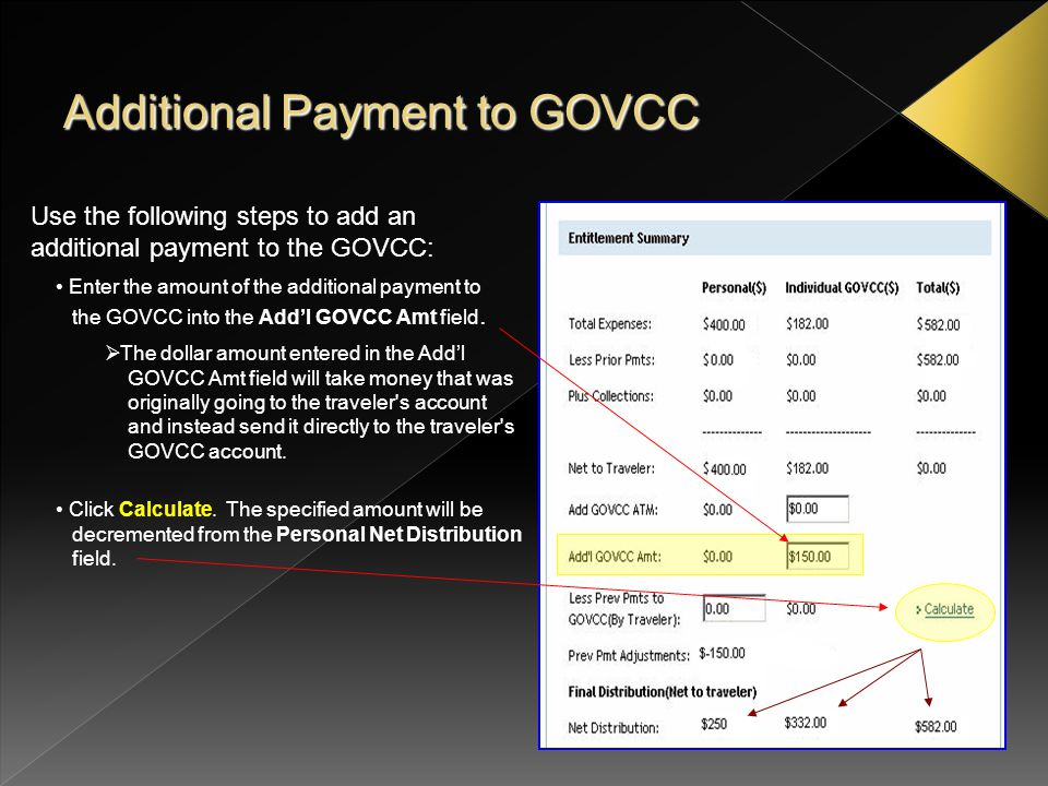 Use the following steps to enter an amount paid by the traveler to the GOVCC account before the DTS disbursement was paid.