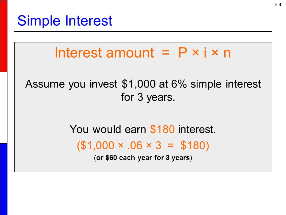 6-4 Simple Interest Interest amount = P × i × n Assume you invest $1,000 at 6% simple interest for 3 years.