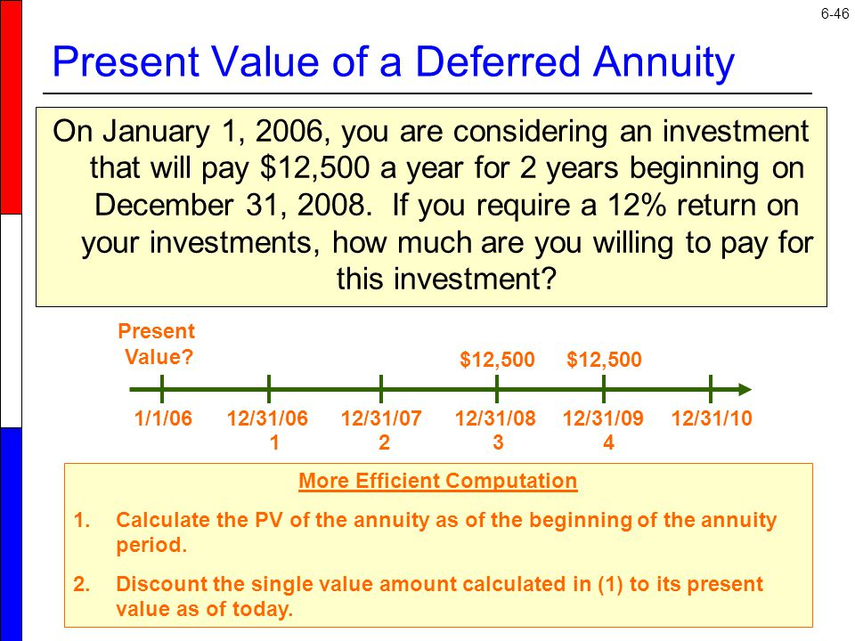 6-46 On January 1, 2006, you are considering an investment that will pay $12,500 a year for 2 years beginning on December 31, 2008.