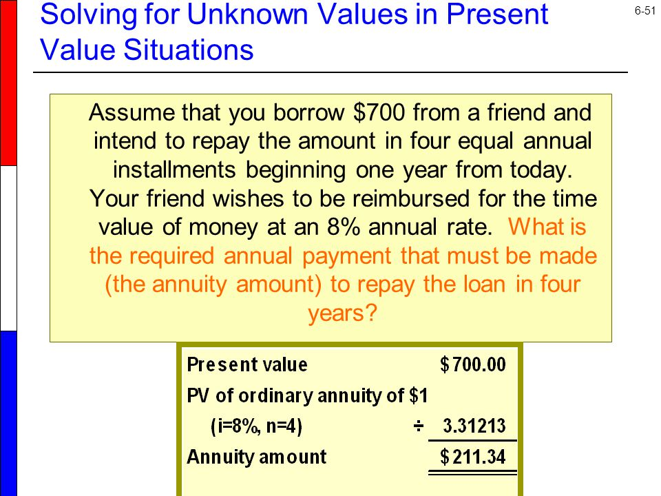 6-51 Solving for Unknown Values in Present Value Situations Assume that you borrow $700 from a friend and intend to repay the amount in four equal annual installments beginning one year from today.