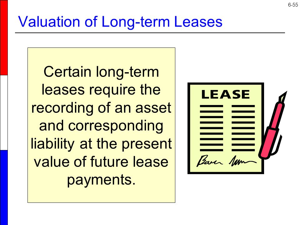 6-55 Valuation of Long-term Leases Certain long-term leases require the recording of an asset and corresponding liability at the present value of future lease payments.