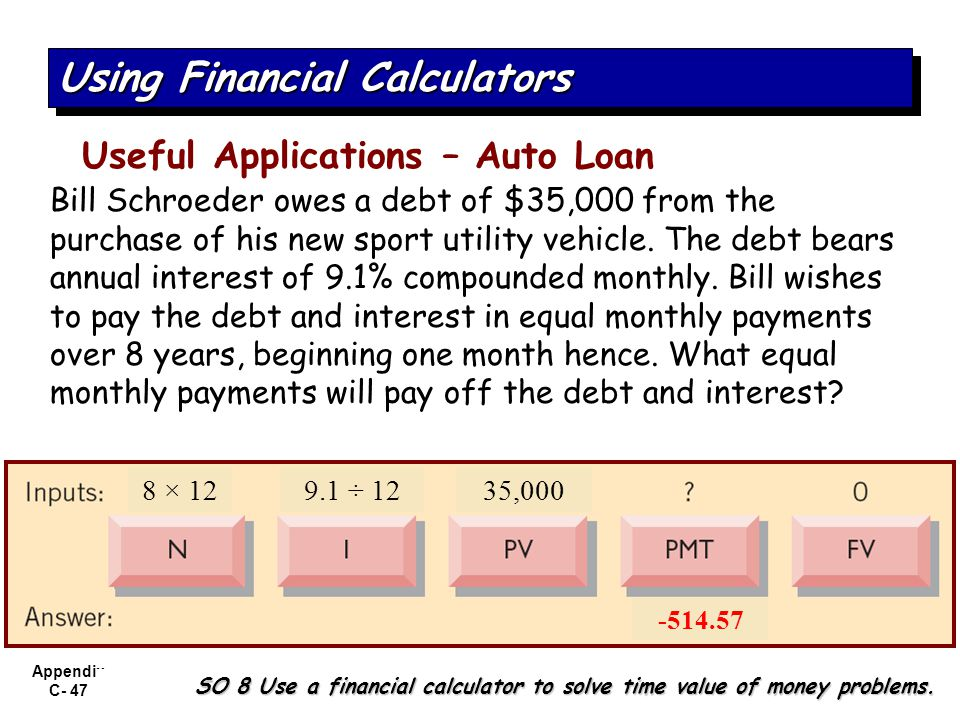Appendix C- 47 SO 8 Use a financial calculator to solve time value of money problems. Using Financial Calculators Useful Applications – Auto Loan Bill