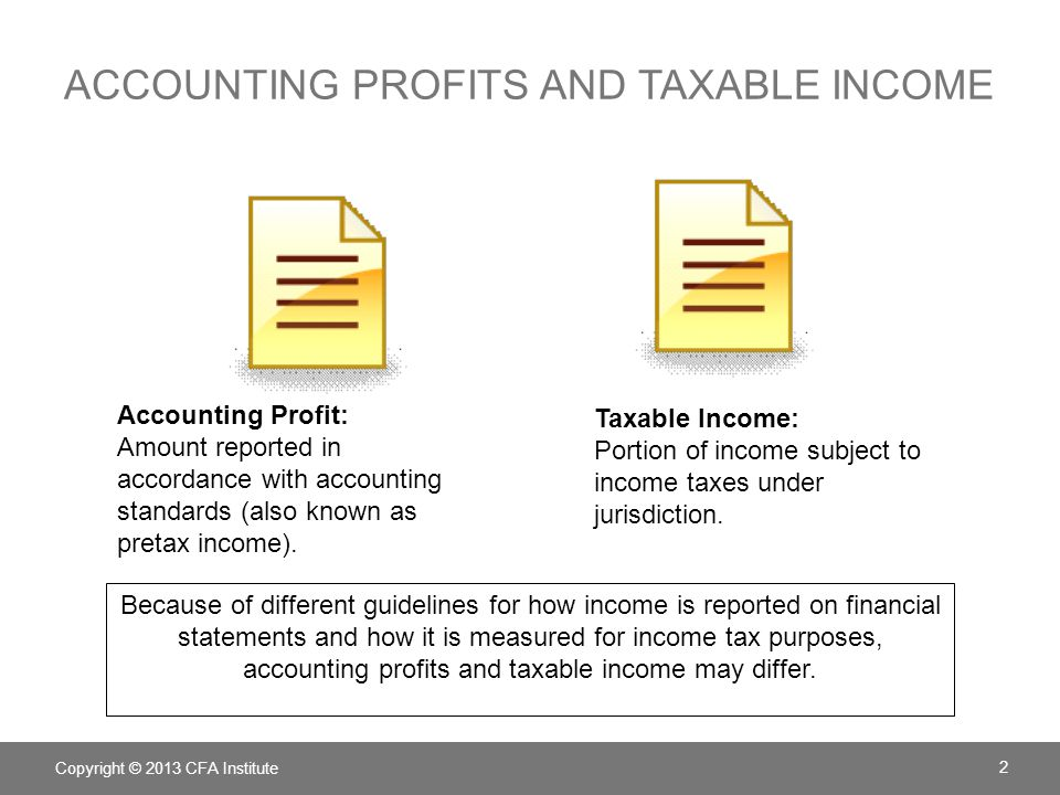 ACCOUNTING PROFITS AND TAXABLE INCOME Copyright © 2013 CFA Institute 2 Accounting Profit: Amount reported in accordance with accounting standards (als