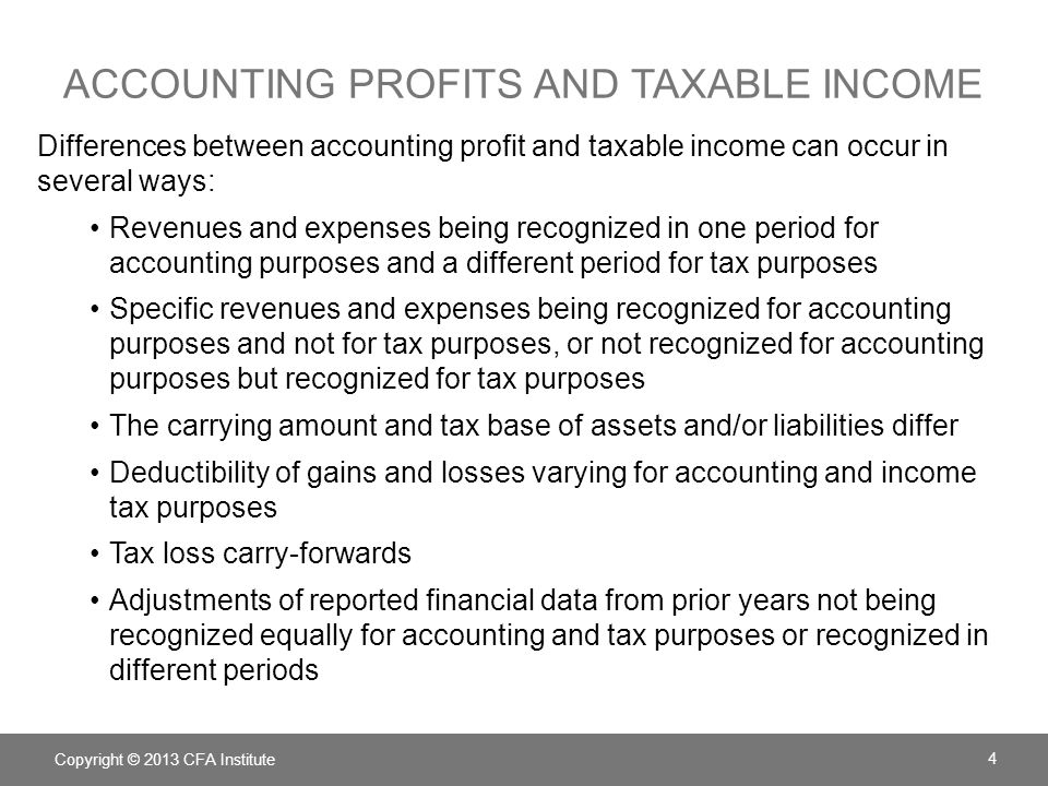 ACCOUNTING PROFITS AND TAXABLE INCOME Copyright © 2013 CFA Institute 4 Differences between accounting profit and taxable income can occur in several w