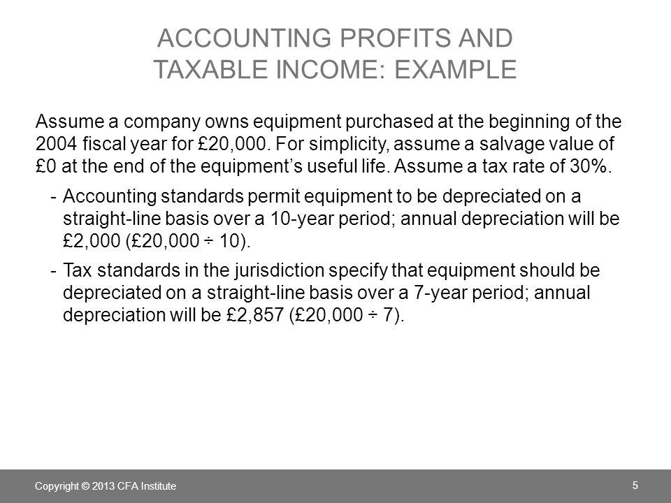ACCOUNTING PROFITS AND TAXABLE INCOME: EXAMPLE Assume a company owns equipment purchased at the beginning of the 2004 fiscal year for £20,000. For sim