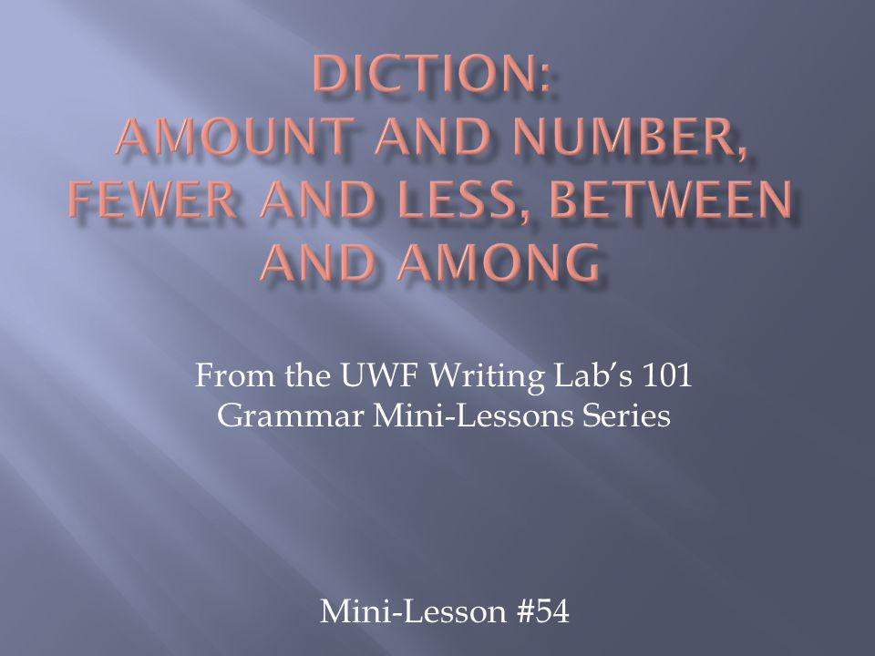 From the UWF Writing Lab's 101 Grammar Mini-Lessons Series Mini-Lesson #54