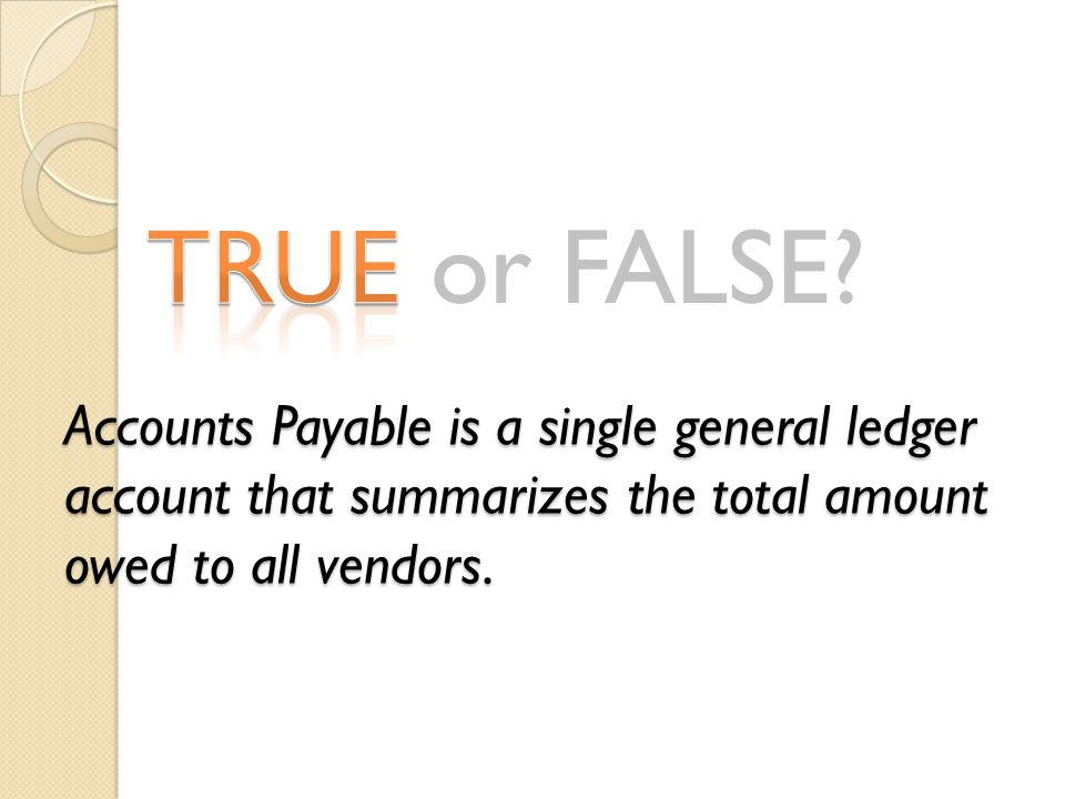 TRUE or FALSE? Accounts Payable is a single general ledger account that summarizes the total amount owed to all vendors.