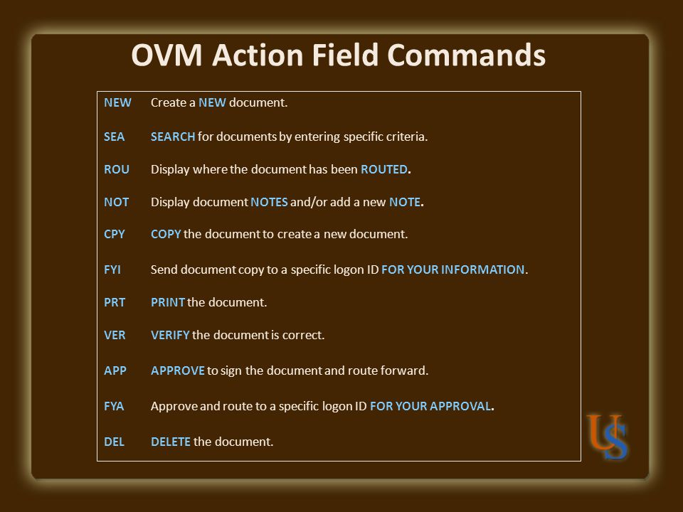 OVM Action Field Commands NEWCreate a NEW document.