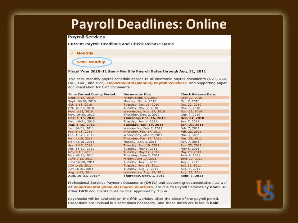 Payroll Deadlines: Online