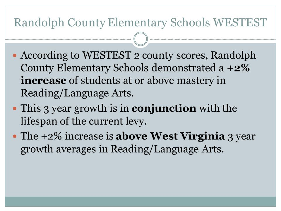Randolph County Elementary Schools WESTEST According to WESTEST 2 county scores, Randolph County Elementary Schools demonstrated a +2% increase of students at or above mastery in Reading/Language Arts.