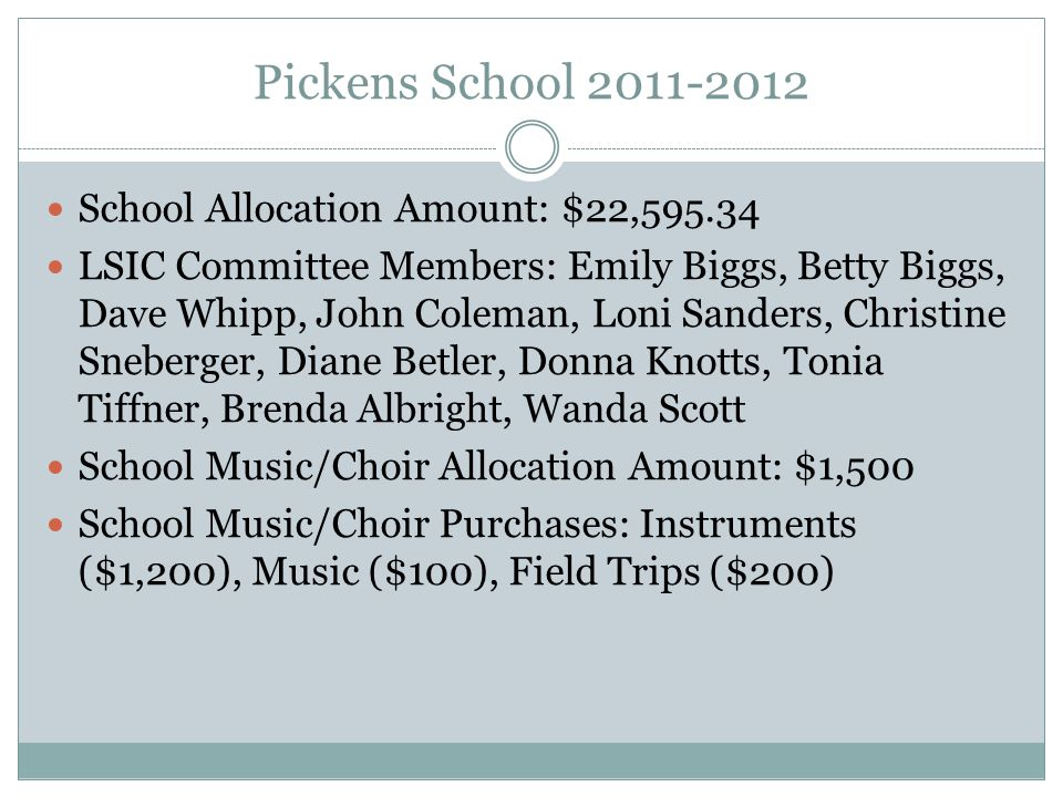 Pickens School 2011-2012 School Allocation Amount: $22,595.34 LSIC Committee Members: Emily Biggs, Betty Biggs, Dave Whipp, John Coleman, Loni Sanders, Christine Sneberger, Diane Betler, Donna Knotts, Tonia Tiffner, Brenda Albright, Wanda Scott School Music/Choir Allocation Amount: $1,500 School Music/Choir Purchases: Instruments ($1,200), Music ($100), Field Trips ($200)