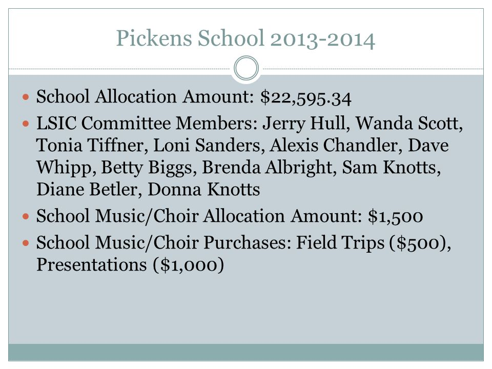 Pickens School 2013-2014 School Allocation Amount: $22,595.34 LSIC Committee Members: Jerry Hull, Wanda Scott, Tonia Tiffner, Loni Sanders, Alexis Chandler, Dave Whipp, Betty Biggs, Brenda Albright, Sam Knotts, Diane Betler, Donna Knotts School Music/Choir Allocation Amount: $1,500 School Music/Choir Purchases: Field Trips ($500), Presentations ($1,000)