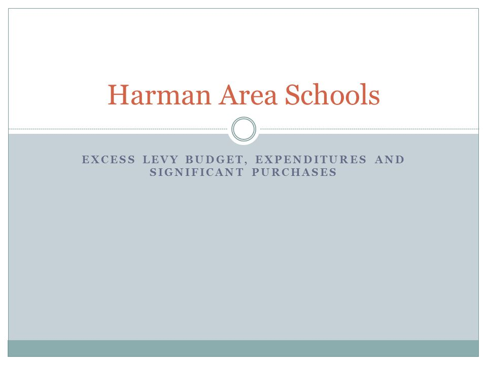 EXCESS LEVY BUDGET, EXPENDITURES AND SIGNIFICANT PURCHASES Harman Area Schools
