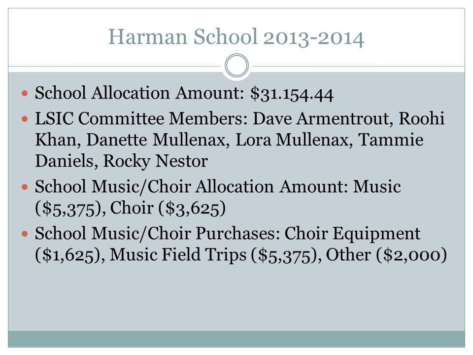 Harman School 2013-2014 School Allocation Amount: $31.154.44 LSIC Committee Members: Dave Armentrout, Roohi Khan, Danette Mullenax, Lora Mullenax, Tammie Daniels, Rocky Nestor School Music/Choir Allocation Amount: Music ($5,375), Choir ($3,625) School Music/Choir Purchases: Choir Equipment ($1,625), Music Field Trips ($5,375), Other ($2,000)