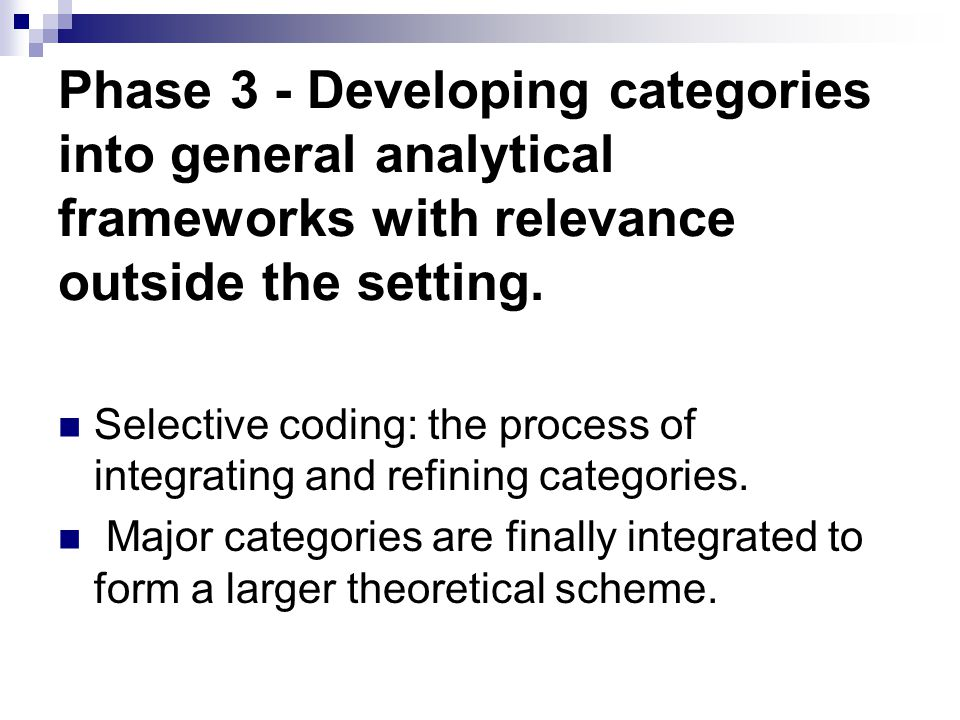 Phase 3 - Developing categories into general analytical frameworks with relevance outside the setting. Selective coding: the process of integrating an