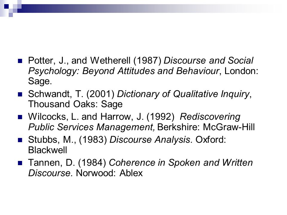 Potter, J., and Wetherell (1987) Discourse and Social Psychology: Beyond Attitudes and Behaviour, London: Sage. Schwandt, T. (2001) Dictionary of Qual