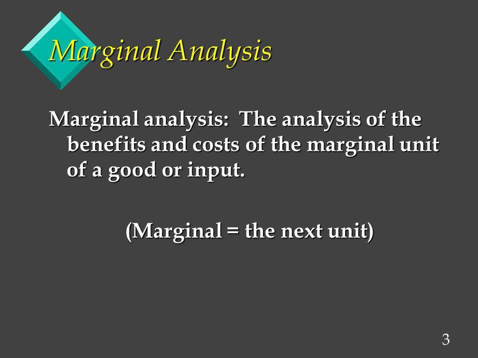 4 Marginal Analysis A technique widely used in business decision-making and ties together much of economic thought.