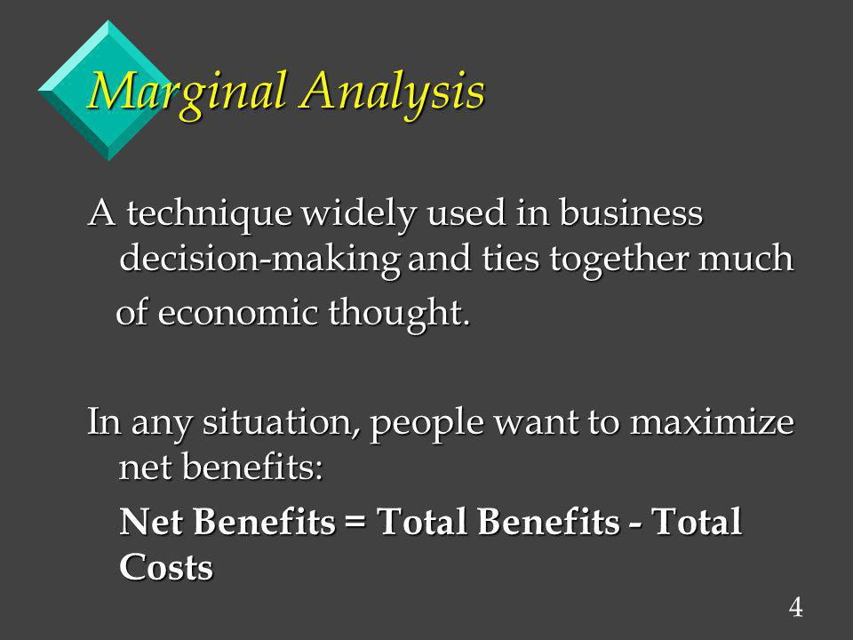 5 The Control Variable To do marginal analysis, we can change a variable, such as the: v quantity of a good you buy, v the quantity of output you produce, or v the quantity of an input you use.