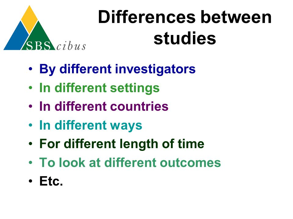Differences between studies By different investigators In different settings In different countries In different ways For different length of time To