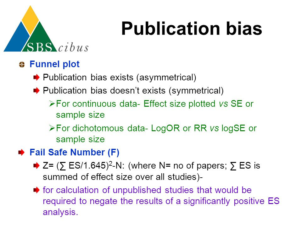 Publication bias Funnel plot Publication bias exists (asymmetrical) Publication bias doesn't exists (symmetrical)  For continuous data- Effect size p