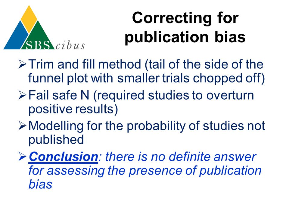 Correcting for publication bias  Trim and fill method (tail of the side of the funnel plot with smaller trials chopped off)  Fail safe N (required s