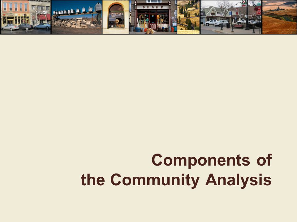 Community Overview  Provides an introduction to the community and an overview of current conditions  Presents significant issues facing the community that may affect residents in the next several years