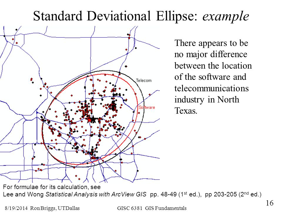 16 8/19/2014 Ron Briggs, UTDallas GISC 6381 GIS Fundamentals Standard Deviational Ellipse: example For formulae for its calculation, see Lee and Wong