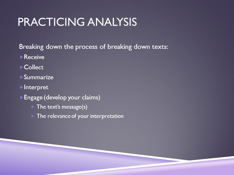 PRACTICING ANALYSIS Breaking down the process of breaking down texts:  Receive  Collect  Summarize  Interpret  Engage (develop your claims)  The text's message(s)  The relevance of your interpretation