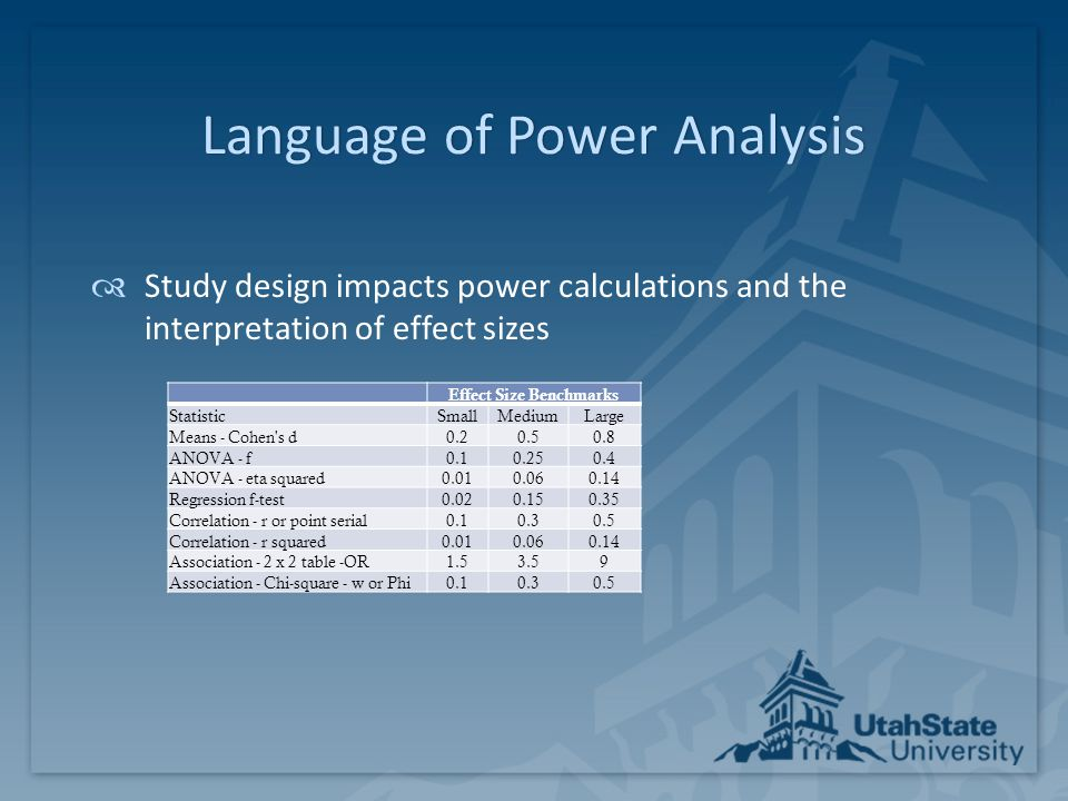 Conducting a Power AnalysisConducting a Power Analysis  Software for Power Analysis:  GPower (PC or Mac)  Free download with tutorial manual  Easy to use  Supports many designs (t-test, ANOVA, ANCOVA, repeated measures, correlations, regression, logistic, proportions, Chi-sq, nonparametric equivalents)  Includes an effect size calculator  Optimal Design (PC)  Free download with tutorial manual  Supports multi-level randomized control trials  Other options: SPSS Sample Power, SAS Proc Power, Pint, PASS