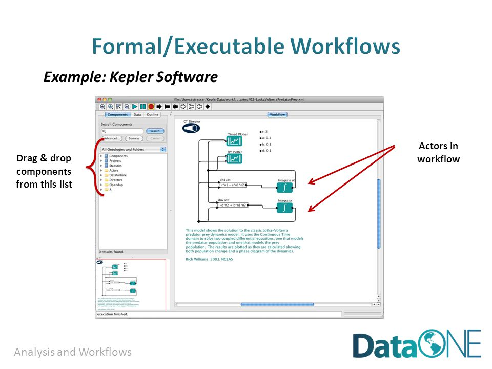 Analysis and Workflows Drag & drop components from this list Actors in workflow Example: Kepler Software
