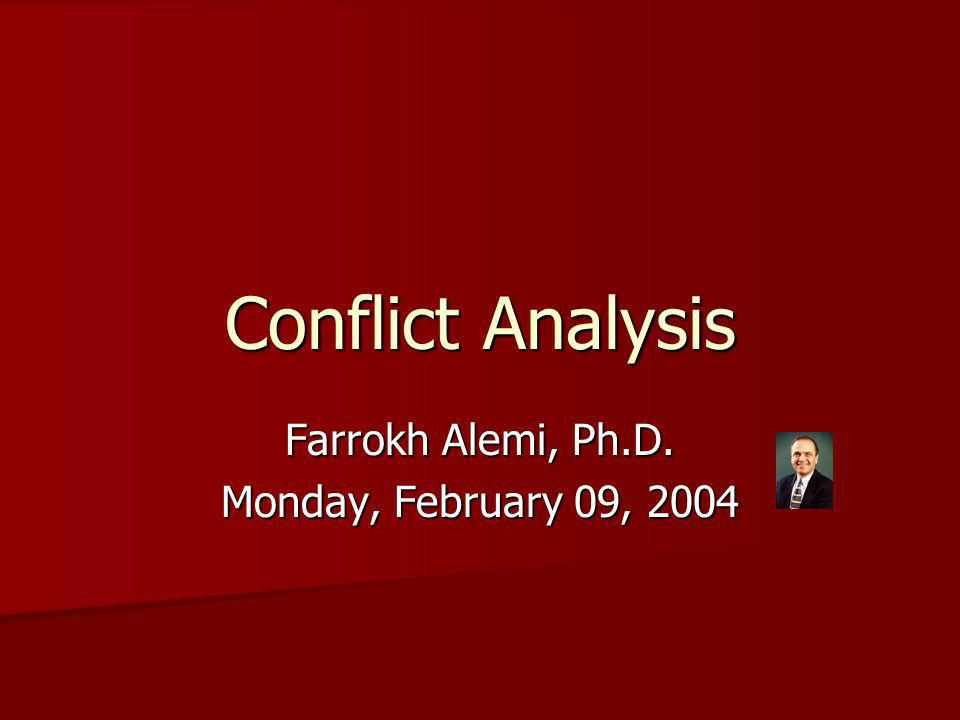 Objectives Turn conflict into win-win situations Turn conflict into win-win situations Learn how to analyze conflict Learn how to analyze conflict Learn how to use the analysis for better insights into the conflict Learn how to use the analysis for better insights into the conflict Not just model building & formulas but also a process