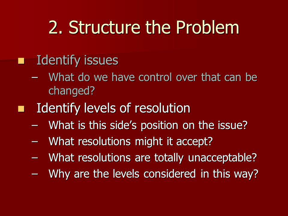 2. Structure the Problem Identify issues Identify issues –What do we have control over that can be changed? Identify levels of resolution Identify lev