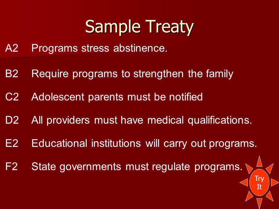 Sample Treaty A2Programs stress abstinence.