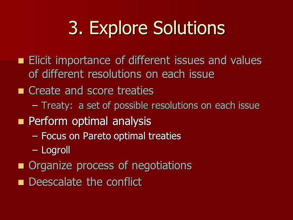 3. Explore Solutions Elicit importance of different issues and values of different resolutions on each issue Elicit importance of different issues and