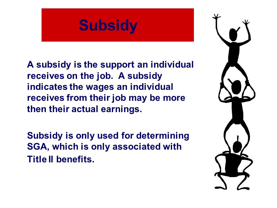 Subsidy A subsidy is the support an individual receives on the job.